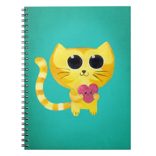 Cute Romantic Cat with Smiling Heart Notebook