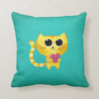 Cute Romantic Cat with Smiling Heart Throw Pillows