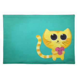 Cute Romantic Cat with Smiling Heart Place Mats