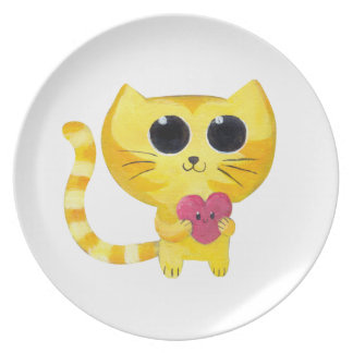 Cute Romantic Cat with Smiling Heart Plate