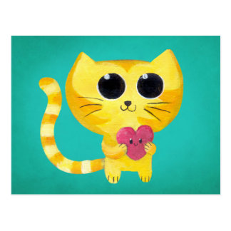 Cute Romantic Cat with Smiling Heart Postcard