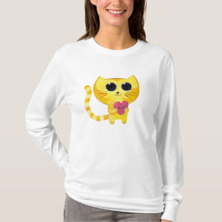 Cute Romantic Cat with Smiling Heart T-Shirt
