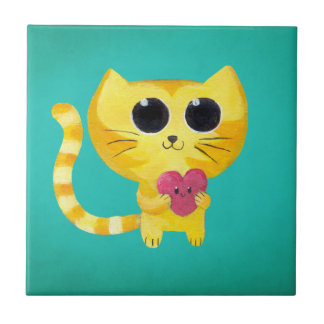 Cute Romantic Cat with Smiling Heart Tile