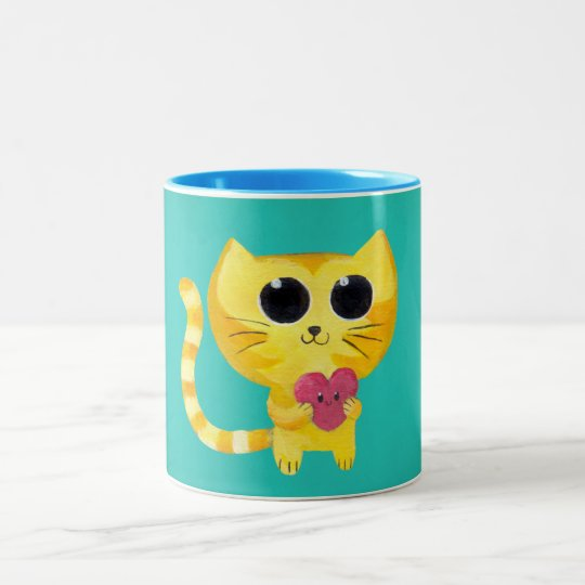 Cute Romantic Cat with Smiling Heart Two-Tone Coffee Mug