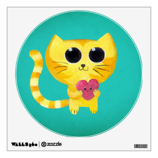 Cute Romantic Cat with Smiling Heart Wall Decal