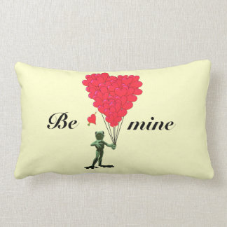 Cute romantic childs frog valentines love heart lumbar pillow