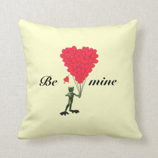 Cute romantic childs frog valentines love heart throw pillow