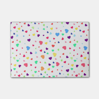 Cute romantic colorful hearts illustration pattern post-it notes