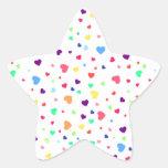 Cute romantic colorful hearts illustration pattern star sticker