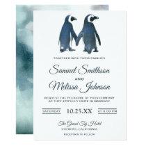Cute Romantic Couple Penguin Wedding Invitation