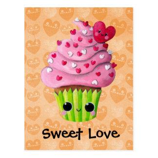 Cute Romantic Cupcake Card Post Card