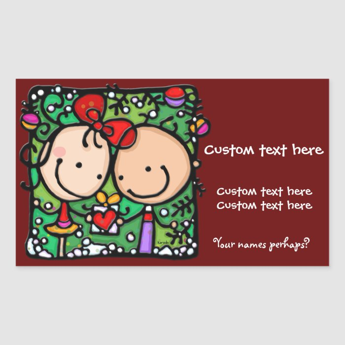 Cute Romantic Custom Christmas stickers