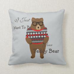Cute Romantic FestiveTeddy Bear Themed Design Throw Pillows
