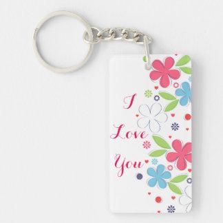 "Cute romantic flowers illustration ""I Love  You"" Keychain"