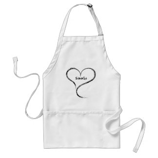 Cute romantic freeform heart add your name adult apron