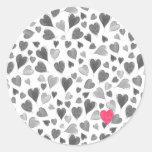 Cute romantic grey pink hand drawn hearts classic round sticker