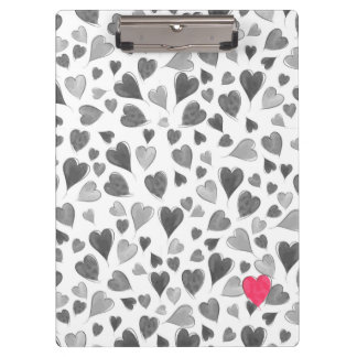 Cute romantic grey pink hand drawn hearts clipboard