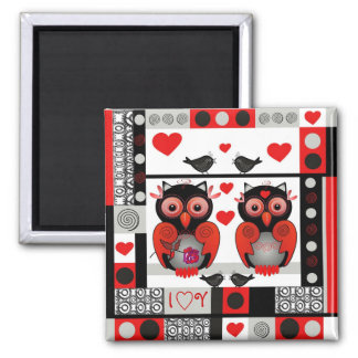 Cute romantic magnet with owls and text