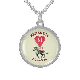 Cute romantic monogrammed heart Valentines Round Pendant Necklace