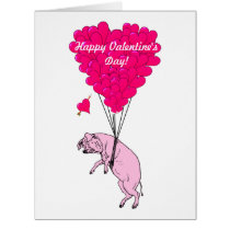 Cute romantic pig valentines day card