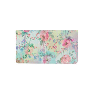 Cute romantic roses floral paint watercolors checkbook cover