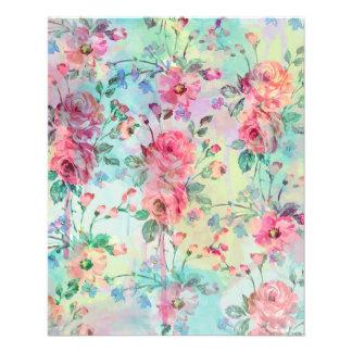 Cute romantic roses floral paint watercolors flyer