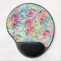 Cute romantic roses floral paint watercolors gel mouse pad