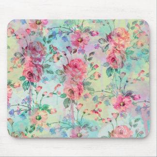 Cute romantic roses floral paint watercolors mouse pad