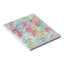 Cute romantic roses floral paint watercolors notepad