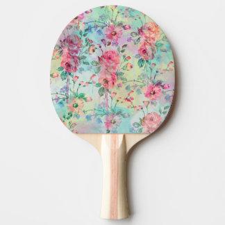 Cute romantic roses floral paint watercolors Ping-Pong paddle