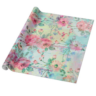 Cute romantic roses floral paint watercolors wrapping paper