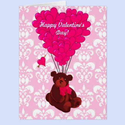 Cute romantic teddy bear valentines day greeting cards