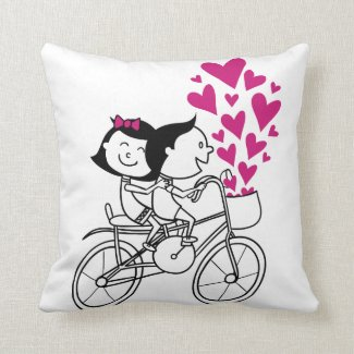 Cute romantic Valentines day couple on bike Throw Pillow