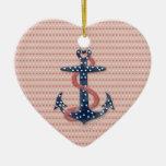 Cute romantic valentines hearts anchor ceramic ornament
