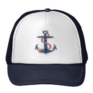Cute romantic valentines hearts anchor trucker hat