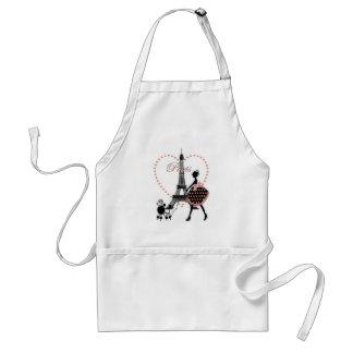Cute romantic vintage girl silhouette walking adult apron