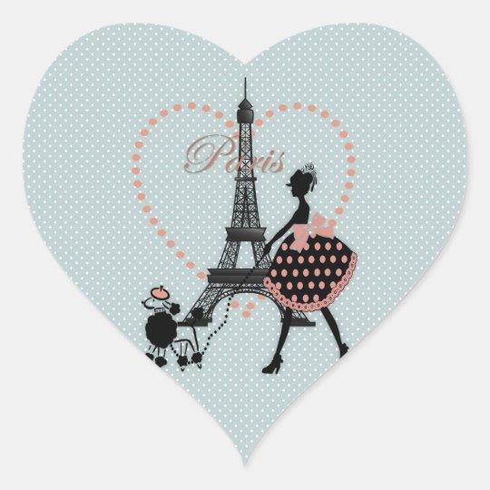 Cute romantic vintage girl silhouette walking heart sticker
