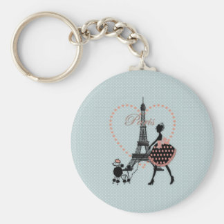 Cute romantic vintage girl silhouette walking basic round button keychain