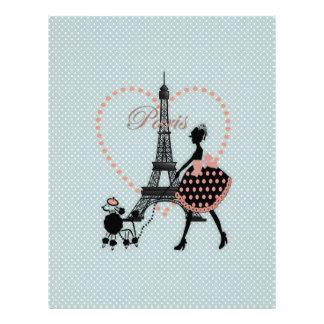 Cute romantic vintage girl silhouette walking letterhead