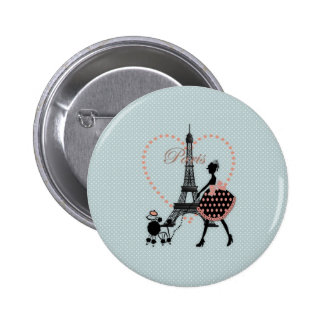 Cute romantic vintage girl silhouette walking pinback button