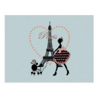 Cute romantic vintage girl silhouette walking postcard