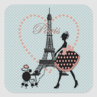 Cute romantic vintage girl silhouette walking square sticker