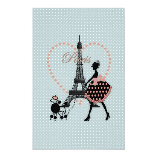 Cute romantic vintage girl silhouette walking stationery