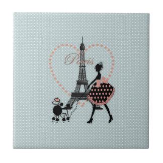 Cute romantic vintage girl silhouette walking tile