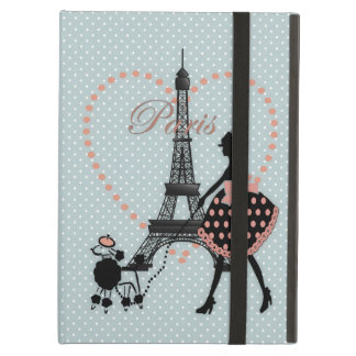 Cute romantic vintage girl  walking French poodle iPad Air Case