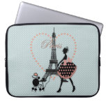 Cute romantic vintage girl  walking French poodle Computer Sleeve