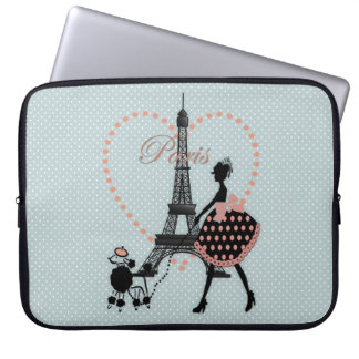 Cute romantic vintage girl  walking French poodle Laptop Computer Sleeve