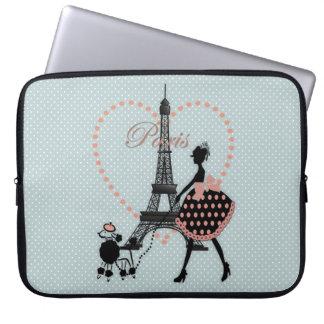 Cute romantic vintage girl  walking French poodle Laptop Sleeve