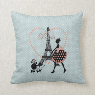 Cute romantic vintage girl  walking French poodle Throw Pillow