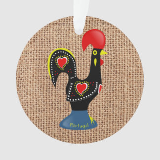 Cute Rooster Barcelos Portugal Burlap background